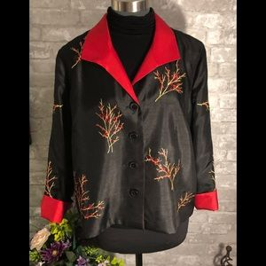 Reversible Jacket Embroidered Black and Red